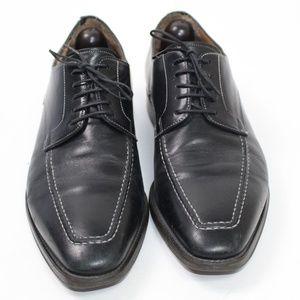 Santoni black apron toe oxford derby dress shoe